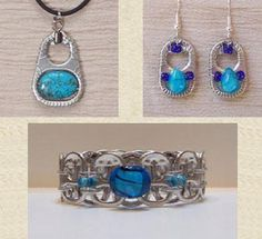 latas by wanting Soda Tab Crafts, Can Tab Crafts, Aluminum Can Crafts, Wire Wrapped Jewelry, Wire Jewelry, Jewelry Crafts, Beaded Jewelry, Jewellery, Bottle Cap Jewelry
