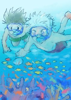 Killua zoldyck and gon Freecs Hunter x Hunter Underwater Swimming Hunter X Hunter, Hunter Anime, Underwater Swimming, Yoshihiro Togashi, Otaku, Gay, Black And White Drawing, Hisoka, Manga