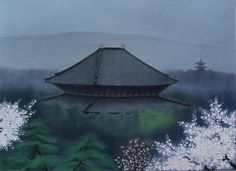 'Ancient Capital in Bloom' lithograph by Chikuhaku SUZUKI - Japanese Painting Gallery
