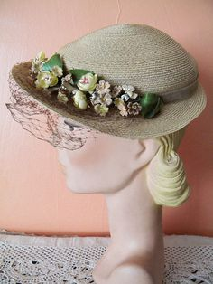 b7d97e7a6ae5c Vintage Straw Spring Hat Easter Bonnet with by SongbirdSalvation Ladies Hats
