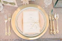 Peach / grey menu and plate setting