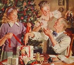 Family wrapping--oh how i've always wished Christmas to be that warming and loving :)