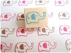 Elephant stamp Baby shower stamp Cute by JapaneseRubberStamps