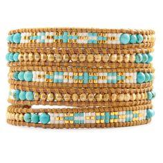 Turquoise Mix Bead Wrap Bracelet on Henna Leather - Chan Luu Loom Bracelet Patterns, Bead Loom Bracelets, Beaded Wrap Bracelets, Jewelry Patterns, Jewelry Bracelets, Crochet Bracelet, Pandora Bracelets, Diy Jewelry, Beaded Jewelry