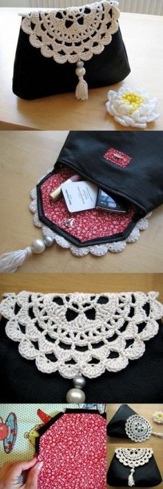 Free tutorial to make this leather and crochet clutch bag by katheryn
