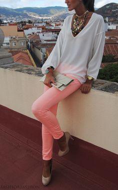 Neon peach skinnies! <3
