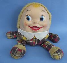 Vintage Knickerbocker Plush RUBBER FACE HUMPTY DUMPTY STUFFED DOLL w/Compartment #Knickerbocker