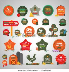 farm labels, signs and icons -vectors