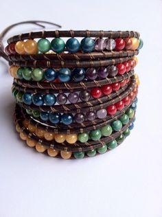Rainbow leather wrap bracelet, 6 Times chan luu style.
