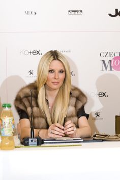 Czech model Simona Krainova at her press conference for the new competition of Czechoslovak Top Model