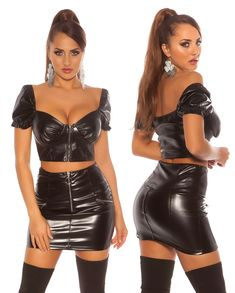 Black Leather Mini Skirt, Leather Skirt, Sexy Skirt, Curves, Ing, Crop Tops, Outfits, Fashion, Chic Dress