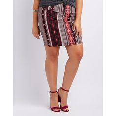 Charlotte Russe Printed Bodycon Mini Skirt ($14) via Polyvore featuring plus size women's fashion, plus size clothing, plus size skirts, plus size mini skirts, coral, mini pencil skirt, charlotte russe, charlotte russe skirts and pencil skirt