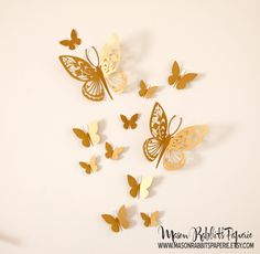3D Gold Butterfly Wall Decal Set for Weddings Wall Decor Nursery Room Decor Party Decor Photography Backdrop. $8.95 via Etsy.  sc 1 st  Pinterest : gold butterfly wall art - www.pureclipart.com
