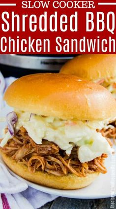 Slow Cooker Pulled BBQ Chicken - The Diary of a Real Housewife Chicken Sandwich Recipes, Easy Chicken Recipes, Lunch Recipes, Easy Dinner Recipes, Easy Meals, Easy Recipes, Dinner Ideas, Slow Cooker Pasta, Slow Cooker Chicken