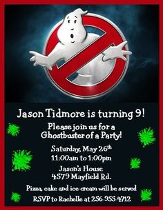 12 Printed Ghostbusters Invitations ~ Style #7 ~ NEW! by The Notecard Lady #TheNotecardLady