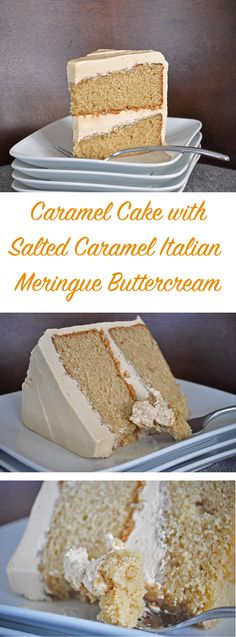 "Caramel Cake with Salted Caramel Italian Meringue Buttercream. If you've never had Italian Meringue Buttercream, you are missing out! It's sublimely smooth and not too sweet. I've never met anyone who doesn't love it – even the ""non-frosting"" people (you Frosting Recipes, Cake Recipes, Dessert Recipes, Buttercream Recipe, Italian Buttercream, Food Cakes, Cupcake Cakes, Just Desserts, Delicious Desserts"