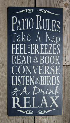 Patio Rules  Large Wood Typography Sign by BedlamCountryCrafts, $55.00