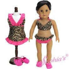 3 pc set, Leopard Bathing Suit, Leopard Cover Dress + Hot Pink Polliwogs Fits American Girl Doll Clothes Swim Wear