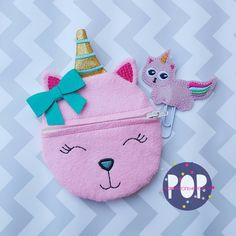 Digital Download- Unicorn Kitty ITH Zipper Pouch
