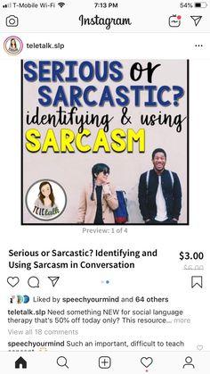 Social Skills Activities, Sarcasm, Conversation, Therapy, Language, Memes, Instagram, Meme, Languages