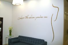 Wall lettering and logo self installed by client at a beauty salon.