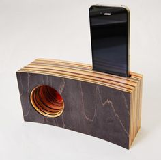 Iphone passive Speaker/Amplifier made from Reclaimed Skateboards @Sarah Chintomby Chintomby Chintomby Cowley for your skateboard arts and crafts!!!
