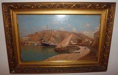 """Enrique Florido Bernils (Málaga , 1873 - 1929) """"Puerto de Málaga, Alcazaba y Gibralfaro"""" Óleos sobre tabla. Firmado ángulo inferior derecha E.Florido Málaga. Medidas: Con marco 57 x 40 cm               Sin marco  45 x 28 cm"""