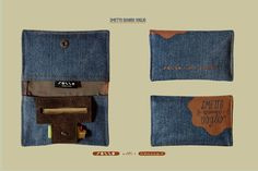 Porta tabacco in cotone denim ed eco pelle, cotton jeans and fake leather made in italy