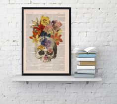 Flowers and  Skull collage Printed on Vintage Dictionary Book page- dictionary book print ,Wall decor art BPSK016b