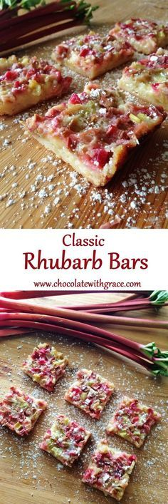 Bars Rhubarb Bars - shortbread crust and tangy rhubarb topping.Rhubarb Bars - shortbread crust and tangy rhubarb topping. Best Rhubarb Recipes, Fruit Recipes, Cookie Recipes, Dessert Recipes, Recipies, Ruhbarb Recipes, Spring Desserts, Just Desserts, Delicious Desserts