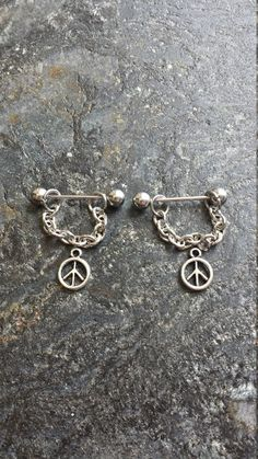 Peace Sign - Set of 2 !! 14g (1.6mm) or 16g (1.2mm) Nipple Barbell Jewelry Piercings Accessory 14 16 Gauge