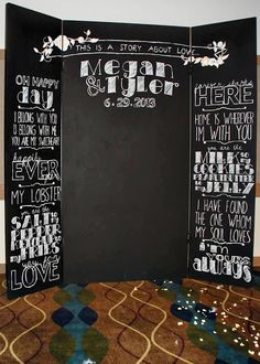 this is plywood painted with chalkboard paint and then used a projector to write all of the sayings. What a perfect DIY Photo Booth! Diy Photo Booth, Wedding Photo Booth, Photo Booth Backdrop, Wedding Photos, Photo Booths, Photobooth Idea, Photo Booth Background, Photoboth Mariage, Diy Wedding