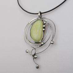 Metal necklace with Gemstone Jadeit .Pendant is handmade.Tiffany technique, Healing Stone, jewellery . by Helenamode on Etsy