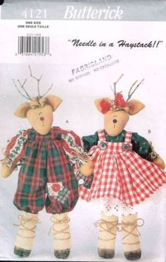 4121 Pattern Butterick Mr. & Mrs. Reindeer with Clothes 17""