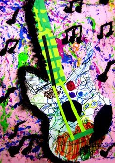 Artsonia Art Museum :: Artwork by Daniel8848  Groovy Guitars on an Action Jackson Background