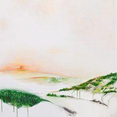 Annie Noa contemporary art. Sunrise. Acrylics on larger canvas. Modern minimalistic painting - landscape. www.instagram.com/theannienoa