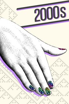 The Illustrated History Of Nail Art #refinery29  http://www.refinery29.com/the-illustrated-history-of-nail-art#slide13  2000s — With cool textures, sheens, and nail embellishments resulting in designs from ornate to just plain futuristic, there has been an unprecedented level of interest in nail art as well as the nail industry. Nails have become part of the whole outfit, with adhesives providing a never-before-achieved level of intricacy to manicure designs. Innovation in nail technology…