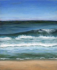 Small Acrylic Landscape Painting Beach Original Art by ShirleyArt, $95.00