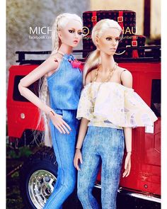 WEBSTA @ michaela_unbehau - V.JHON Doll Molly @vincentjhon and DeMuse Doll Margaux @nigelchiaofficial in Fashion by @zenia_komar  #toy #toys #toyphotography #outdoors #dolls #instaartist #shape #eyes #style #vogue #stylish #fashion #blonde #art #jeans #instadaily #instagood #light #bright #artphotography #destroyed #toystagram #adventure #face #driving #barbie