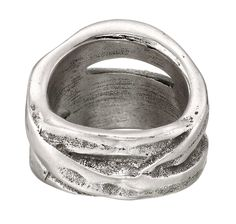 A unique and daring UNOde50, silver-plated ring, hand-crafted in Spain with interlocking hoops.