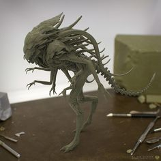 ALIEN QUEEN HYBRID,creature concept sculpt.Inspired by HR Gigers Alien. Art by RIYAHD CASSIEM
