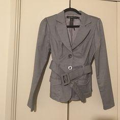 Business women suit blazer jacket Elegant formal office Business women grey suit blazer jacket with shoulder pads belt around the waist and 2 small pockets Grass Collection Jackets & Coats Blazers