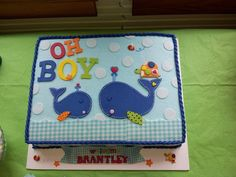 oh boy whale baby shower cake - if the actual whale shaped cake is to expensive could always do this one I guess Baby Shower Sweets, Baby Shower Cakes For Boys, Baby Boy Shower, Baby Showers, Whale Cakes, Whale Party, Nautical Cake, Fondant Decorations, Wale