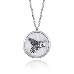Bee Necklace, Coin Jewelry, Black Backgrounds, Pendants, Sterling Silver, Chain, Handmade, Collection, Pendant