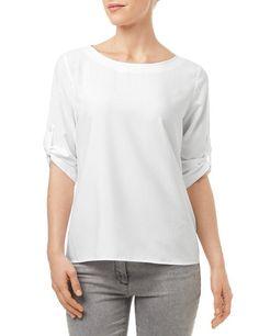 Swobodnie opadająca bluzka z rękawem 3/4, biały teraz kupić | GERRY WEBER