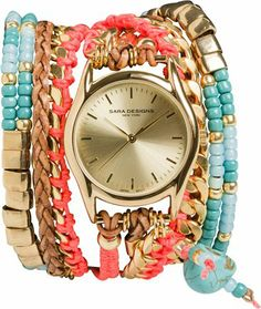 Turquoise, gold and coral wrap watch by Sara Designs