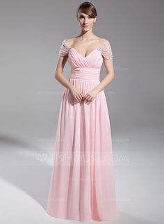 A-Line/Princess Off-the-Shoulder Floor-Length Chiffon Tulle Evening Dress With Ruffle Beading (008014708) - JJsHouse