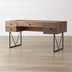 """Shop Atwood Reclaimed Wood Desk. Four asymmetrical drawers fronted with rough-hewn reclaimed peroba wood feature iron pulls that mimic the desk's black, heavy-duty steel legs welded in an """"M"""" configuration."""