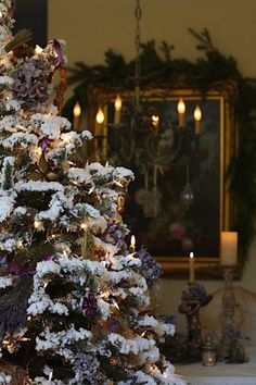 The Most Magical Christmas Decor Ever - laurel home | via French Kissed | I adore flocked Christmas trees!