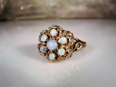 1910s, Edwardian Opal Ring, 10K Opal Ring, Opal Flower Ring, Opal Cluster Ring, Crown Opal Ring,Fiery Opal Ring,Antique Opal Ring – Size 7.5 by CarolsVintageJewelry on Etsy